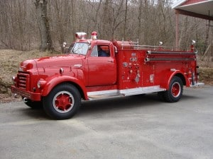 Bowers Fire Co after antique firetruck restoration