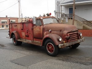 Bowers Fire Co Before Antique firetruck restoration